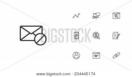Collection Of Web Design, Block, SEO Test And Other Elements.  Set Of 10 Search Outline Icons Set.