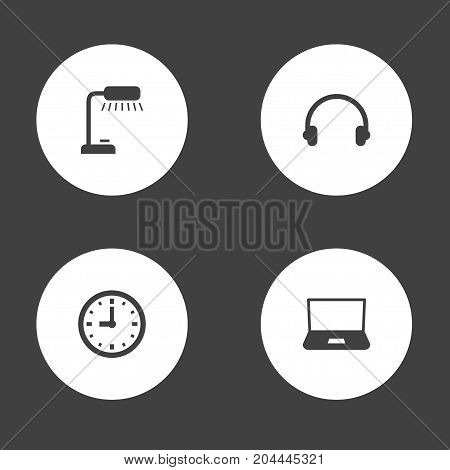 Collection Of Earmuff, Monitor, Timer And Other Elements.  Set Of 4 Bureau Icons Set.