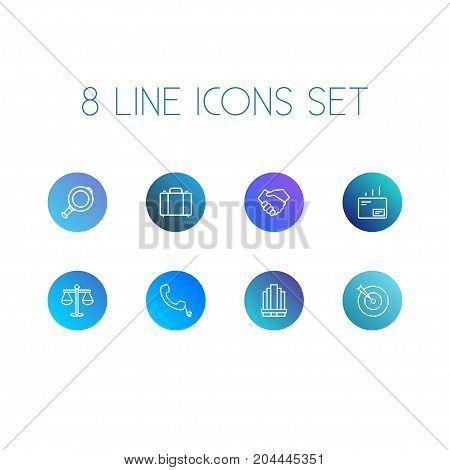 Collection Of Handset, Mail, Target Elements.  Set Of 8 Trade Outline Icons Set.