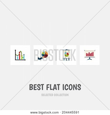 Flat Icon Diagram Set Of Segment, Graph, Easel And Other Vector Objects