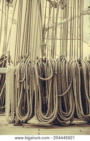 Old Fashioned Harbor Marina Sailboat Ropes