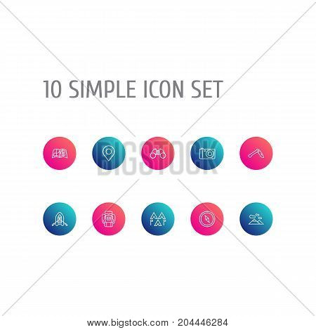 Collection Of Compass, Encampment, Rubber Boat And Other Elements.  Set Of 10 Outdoor Outline Icons Set.