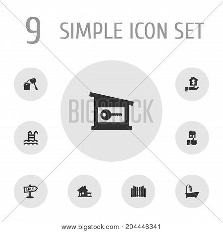 Collection Of Lock, Home, Barrier And Other Elements.  Set Of 9 Property Icons Set.