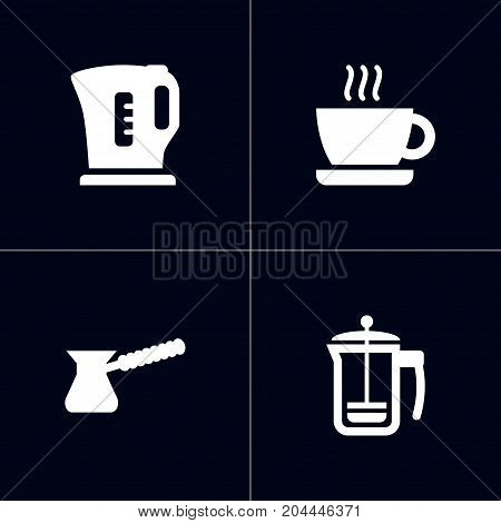 Collection Of Pot, Cup, Turkish Coffee And Other Elements.  Set Of 4 Beverages Icons Set.