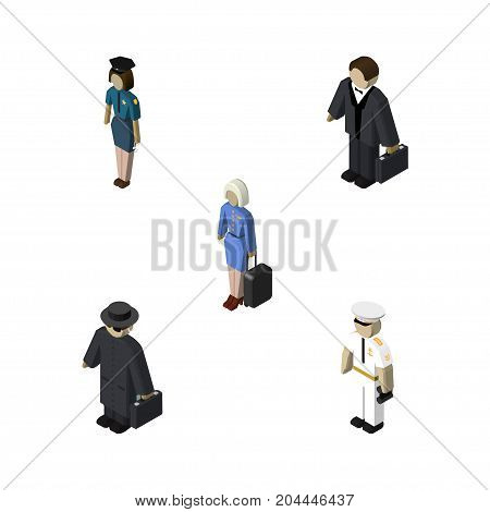 Isometric Person Set Of Hostess, Investor, Seaman And Other Vector Objects