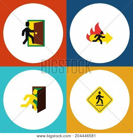 Flat Icon Exit Set Of Fire Exit, Open Door, Evacuation And Other Vector Objects
