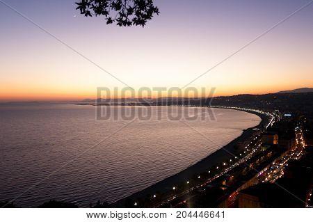 Nice Beach Night View, France