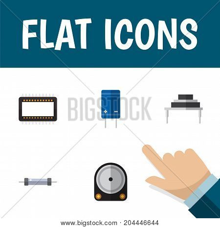 Flat Icon Technology Set Of Resistor, Mainframe, Hdd And Other Vector Objects