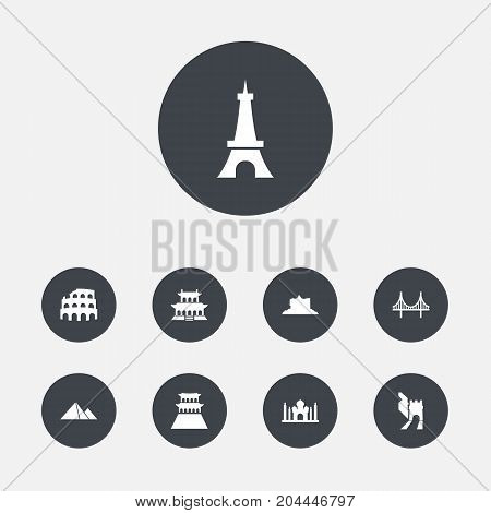 Collection Of India Mosque, Coliseum, Great Pyramid And Other Elements.  Set Of 9 Famous Icons Set.