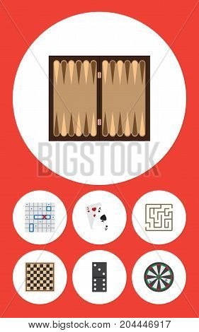 Flat Icon Entertainment Set Of Chess Table, Arrow, Labyrinth And Other Vector Objects