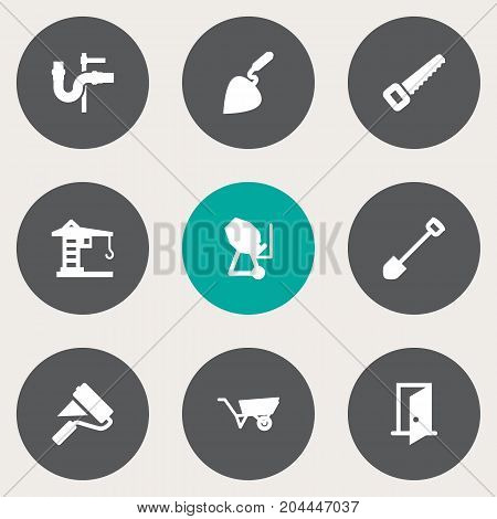 Collection Of Hacksaw, Pipeline, Bricklayer And Other Elements.  Set Of 9 Construction Icons Set.