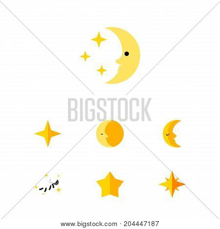 Flat Icon Bedtime Set Of Asterisk, Lunar, Moon And Other Vector Objects