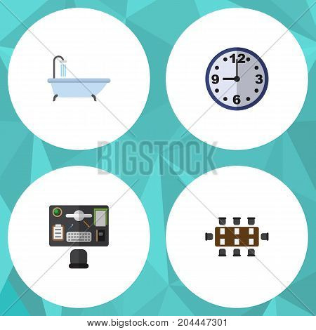 Flat Icon Oneday Set Of Tub, Boardroom, Bureau And Other Vector Objects