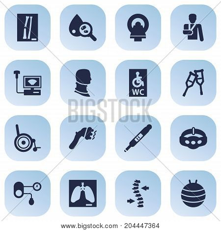 Collection Of Sonogram, Tomography, Slimming And Other Elements.  Set Of 16 Medicine Icons Set.