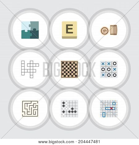 Flat Icon Games Set Of Labyrinth, Chess Table, Gomoku And Other Vector Objects