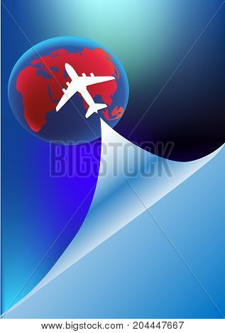 plane vector/ Brochure cover/ Swirl abstract background/ Eco friendly Info graphics design template/ plane concept with background design/ Nature elements