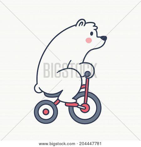 Cute cartoon white bear riding bicycle retro style vector illustration.