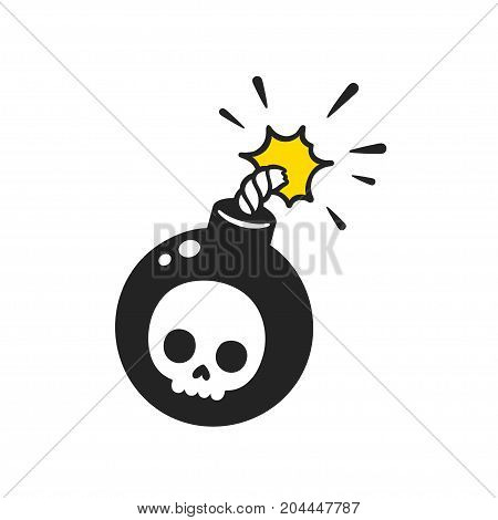 Cartoon comic style bomb with skull drawing and burning wick. Isolated vector illustration.