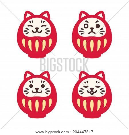 Set of cute Daruma dolls with kawaii cat face. Traditional Japanese good luck symbol. Simple and modern vector illustration.