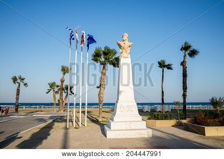 Bust Of Athenian General Kimon At Finikoudes Beach In Larnaca