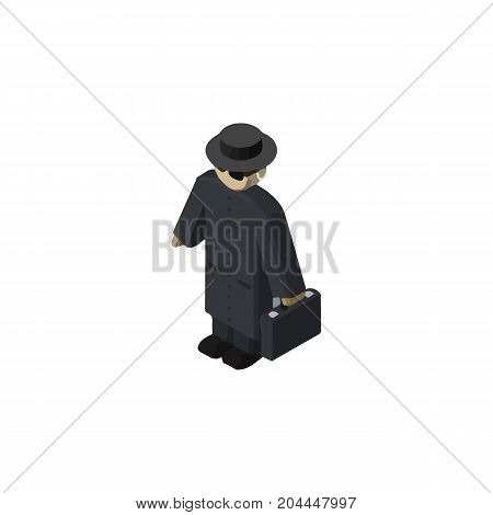 Detective Vector Element Can Be Used For Detective, Agent, Police Design Concept.  Isolated Agent Isometric.