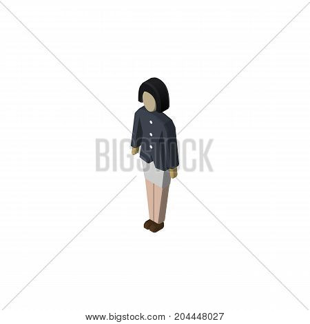 Girl Vector Element Can Be Used For Girl, Woman, Guy Design Concept.  Isolated Guy Isometric.