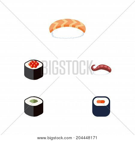 Flat Icon Sashimi Set Of Seafood, Sashimi, Japanese Food And Other Vector Objects