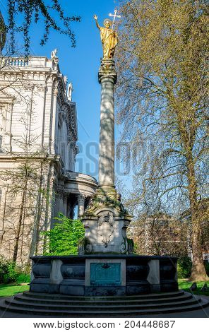 A Statue Of St Paul At Churchyard In St Paul's Cathedral, Central London