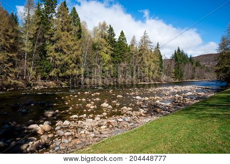A view of Dee river in Balmoral Castle estate Aberdeenshire Scotland