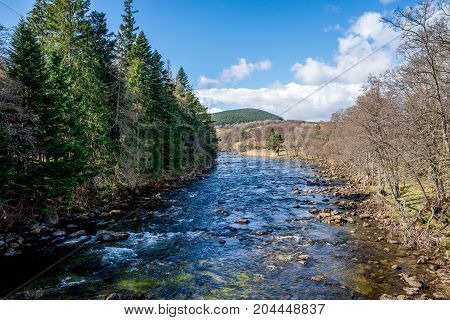 A View Of Dee River From The Bridge In Balmoral Castle, Scotland