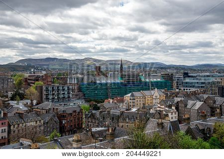 A view to the south of Edinburgh city from the castle wall Scotland