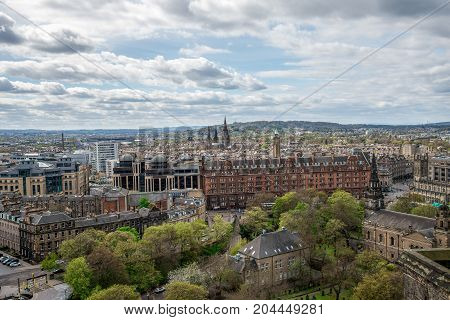 Edinburgh city and Pentland Hills view from the castle hill Scotland