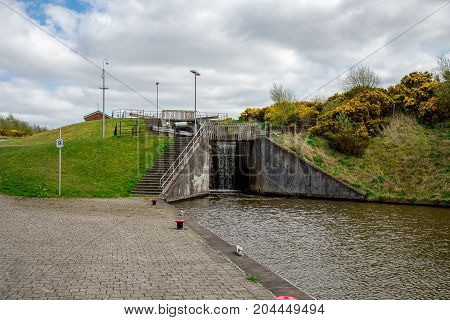 A Lock Connecting Union Canal With A Top Of Falkirk Wheel Canal