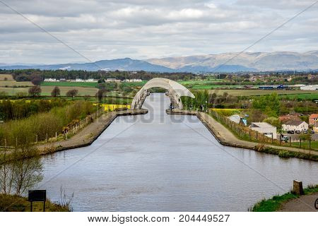A View Of Falkirk Wheel Aqueduct And Background Hills