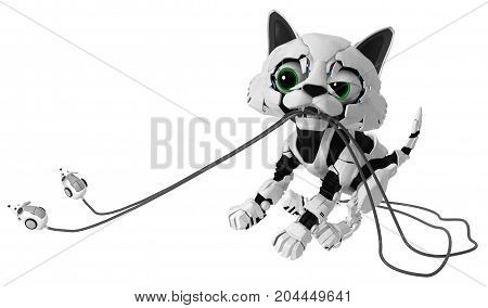 Robotic kitten with computer mice catching two simultaneously 3d illustration horizontal isolated