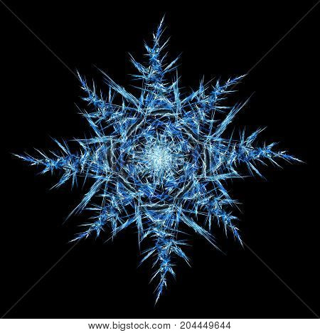 Ice shard shape abstracts star snowflake horizontal isolated over black