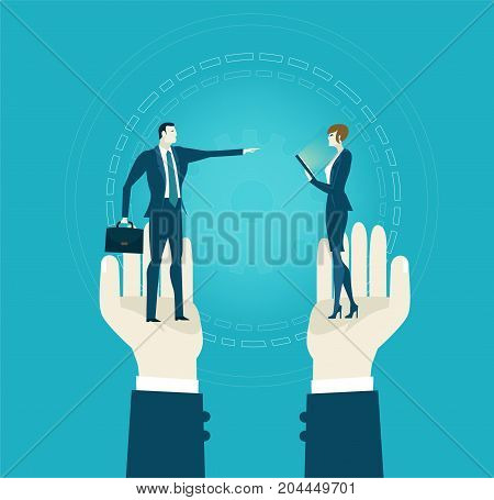 Human's hands holding the business people, part of the team. Representation of successes, control, support and coordination. Concept illustration