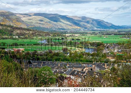 A view to Stirling city and highlands from castle hill Scotland