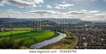 A view to river Forth and Stirling city from Abbey Craig hilltop central Scotland