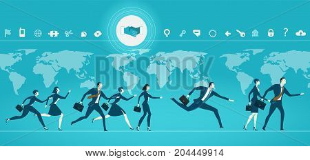 Business people running in front of the world map, representing busy modern life, time, competition and teamwork. Business concept illustration