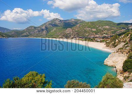 Oludeniz coastline of the Mediterranean Sea in Turkey.