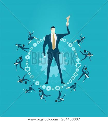 Businessmen holding the trophy and lot of young professional people running on the circle made of gears, representing the busy and competitive business life and achievement. Concept illustration