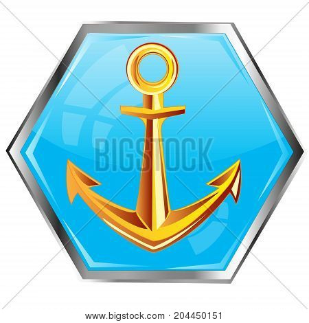 Sea anchor from gild on button of the blue colour