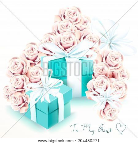 Cute fashion illustration with rose flowers and blue gift boxes. Valentine's day card
