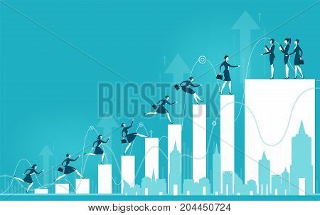 Business women on the career ladder. Concept illustration