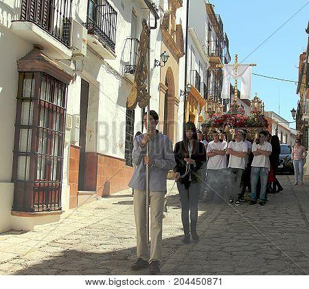 Ronda, Spain - May 3, 2014: Corpus Christi Procession festival in Ronda, Spain