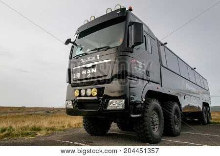 Specialty vehicle for off-roading and driving on snow in Iceland.