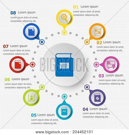 Infographic template with library icons, stock vector