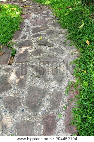 Garden walk way with stone in nature