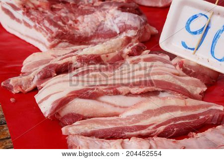 Raw pork for cooking in street food